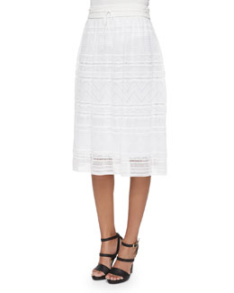 Fancy Ribbon-Stitch Midi Skirt
