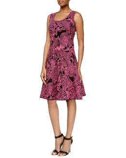 Floral Intarsia-Knit Dress, Pink