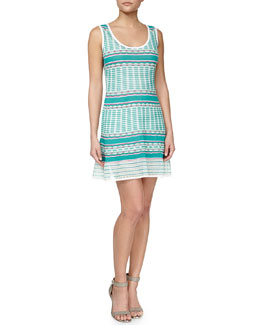 Striped Tank Dress, Aqua/White