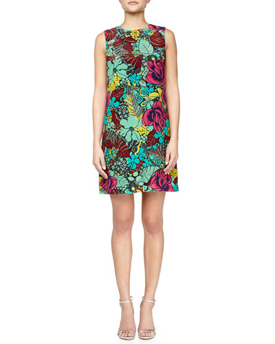 Sleeveless Jungle Rose Silk Shift Dress, Mint/Multicolor