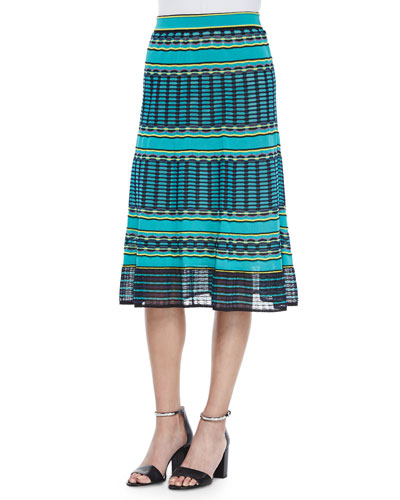Grid-Stitched Midi Skirt, Aqua