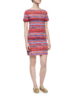 Short-Sleeve Striped T-Shirt Dress, Red/Multicolor
