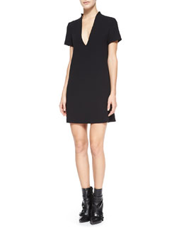 Seamed V-Neck Boxy Dress, Black