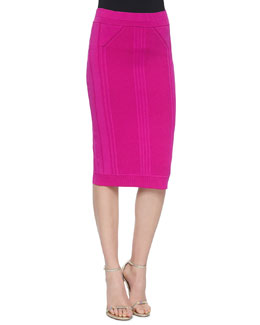 Slim Knit Pencil Skirt, Fuchsia