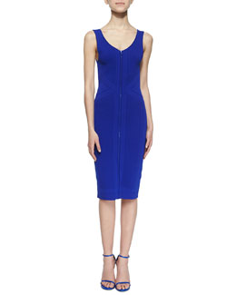 Sleeveless Zip-Front Sheath Dress, Royal