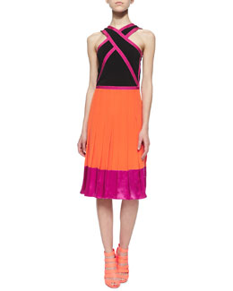 Crisscross Colorblock Pleated Dress