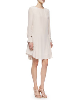 Long-Sleeve Silk Ruffle-Hem Dress