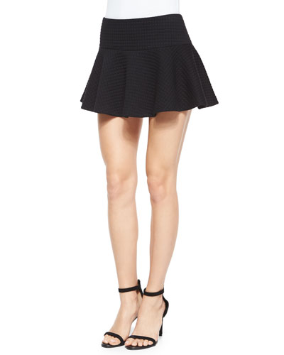 Drop-Waist Flared Mini Skirt, Black
