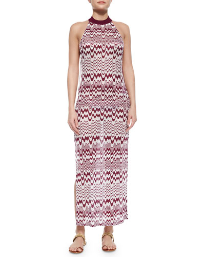 Bicolor High-Neck Maxi Dress, Maroon