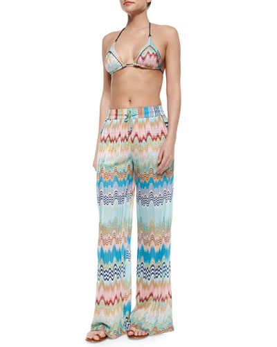 Wave & Striped-Pattern Pull-On Pants, Blue
