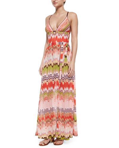 Multi Wave & Stripe-Pattern Maxi Skirt, Pink