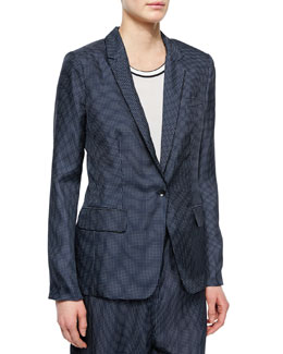 Belmar One-Button Micro-Dot Blazer