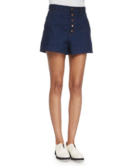 Branson Button-Front Denim Shorts