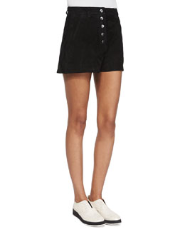Branson Button-Front Suede Shorts
