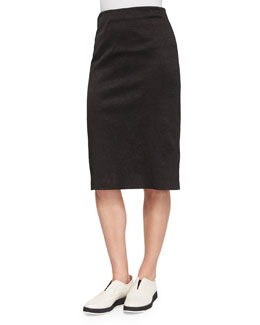 Greta Crinkled Pencil Skirt, Black