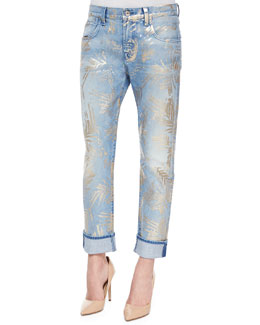 The Cropped Relaxed Skinny Jeans, Gold Fossil Leaf