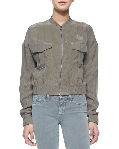 Santa Fe Cropped Bomber Jacket, Jungle Green