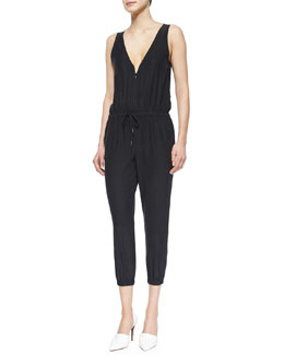 Sleeveless Silk Romper, Noir