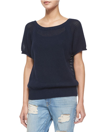 Short-Sleeve Raglan Pullover Sweater, Navy