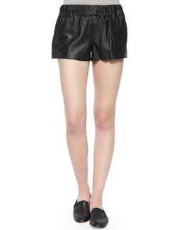 Leather Pajama-Style Shorts, Black