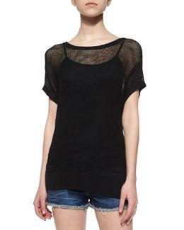 Odette Mesh-Knit Tee, Black