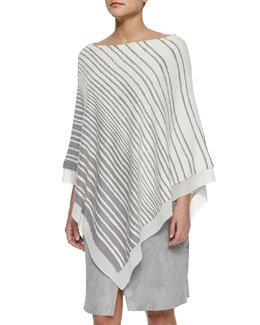 Off-Shoulder Striped Poncho