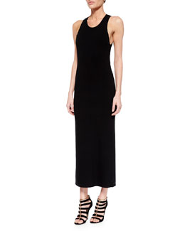 Sleeveless Body-Conscious Maxi Sweaterdress