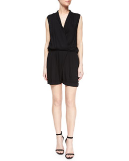 Cai Shawl-Collar Short Romper, Black
