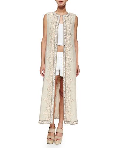 Estee Embroidered Open-Front Long Vest, Beige