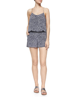 Lawanda Animal-Print Silk Short Romper