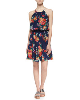 Makana Floral Ikat-Printed Dress