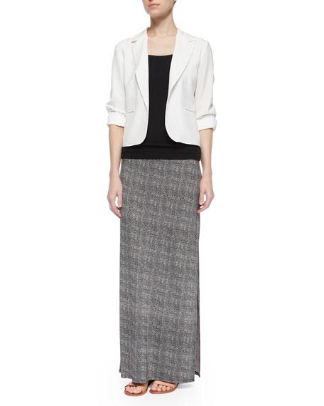 Textured Tweed-Print Maxi Skirt