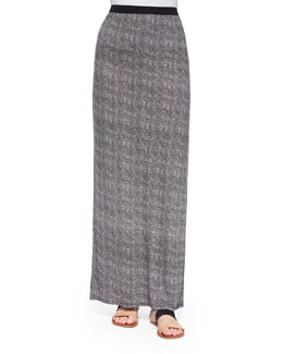 Textured Tweed-Print Maxi Skirt