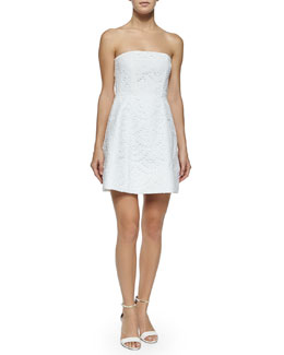 Strapless Eyelet Dress, White