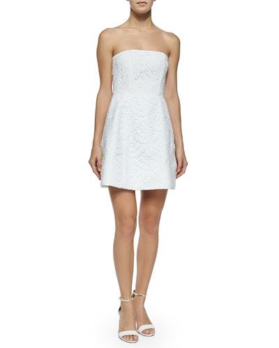 Strapless Eyelet Dress, White