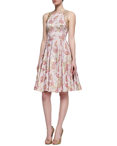 Floral-Print Sleeveless Golden Jacquard Dress, Rose Gold
