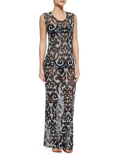 Printed Coverup Maxi Dress