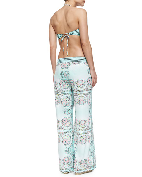 Montecito Printed Pull-On Beach Pants, Seafoam