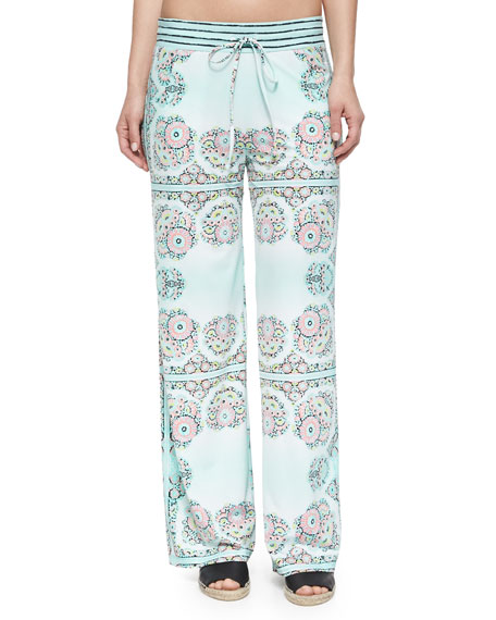 Montecito Printed Pull-On Beach Pants, Seafoam