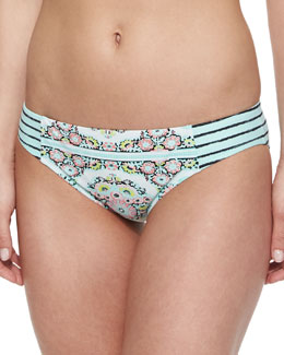 Montecito Charmer Printed Swim Bottom, Seafoam
