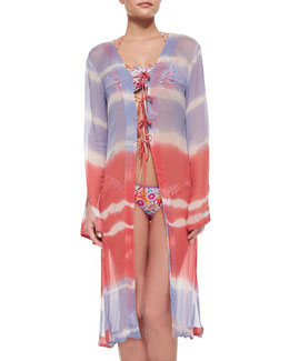 Sangria Waves Tie-Dye Coverup
