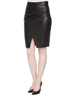 Karen Pleated-Side LambLeather Skirt
