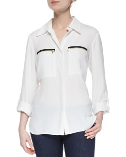 Anita Zip-Pocket Blouse, Ivory