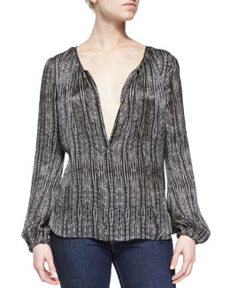 Cobra Split-Neck Silk Blouse