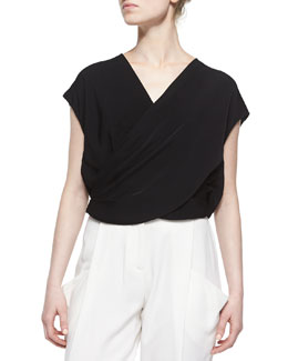 Split-Back Surplice Top, Black