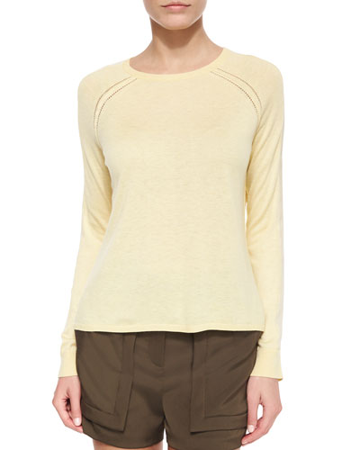 Long-Sleeve Sweater with Chiffon Insert