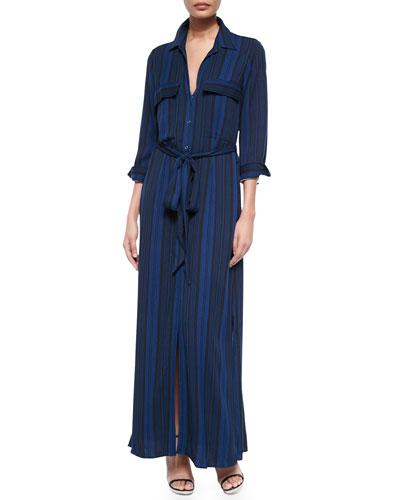 Alani Tie-Waist Striped Shirtdress, Black/Blue