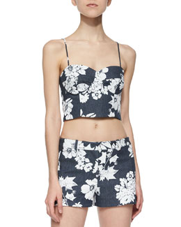 Karel Floral-Print Crop Top