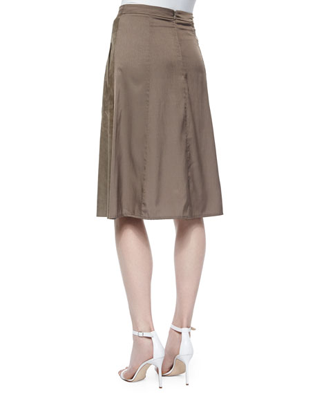 heritage flowy back midi suede skirt