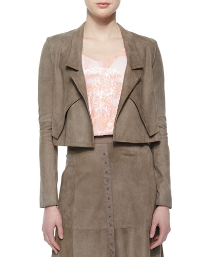Cropped Draped-Front Suede Jacket